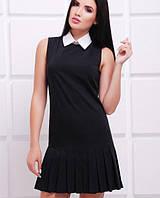 Черное платье без рукавов с белым воротником (Frida fup)