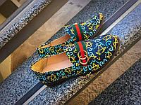 Женские мокасины Gucci из натуральной кожи, черные с цветным принтом, мягкий задник