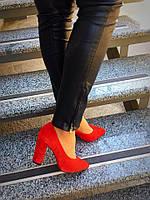 Женские туфли Olimpia №2 из натуральной замши, красного цвета