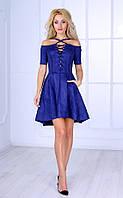 Женское платье с асимметричным кроем (синее) Poliit № 8414