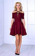 Женское платье с асимметричным кроем (бордовое) Poliit № 8414
