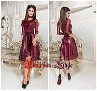 Короткое коктейльное кожаное платье. Много цветов!