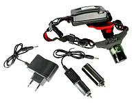 Фонарь налобный аккумуляторный  Police 6671 GREE XPE, акамуляторный, зум, три режима, фонари на лоб
