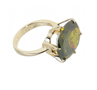 """Кольцо """"Леаль"""" с фианитом, покрытое золотом (r159p0a3)"""
