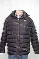 """Зимняя мужская куртка """"Adidas"""" с капюшоном черная"""