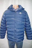 """Зимняя мужская куртка """"Adidas"""" с капюшоном синяя"""