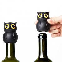 """Стоппер Qualy """"Owl Wine Stopper Black"""" для бутылок"""