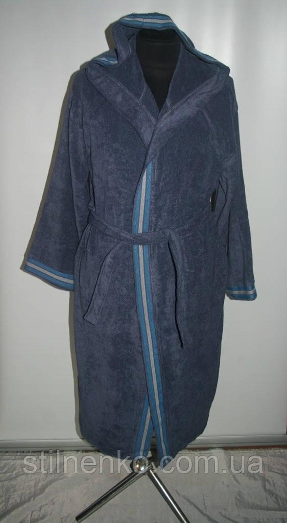 Мужской халат с капюшоном и манжетами,махра,Турция