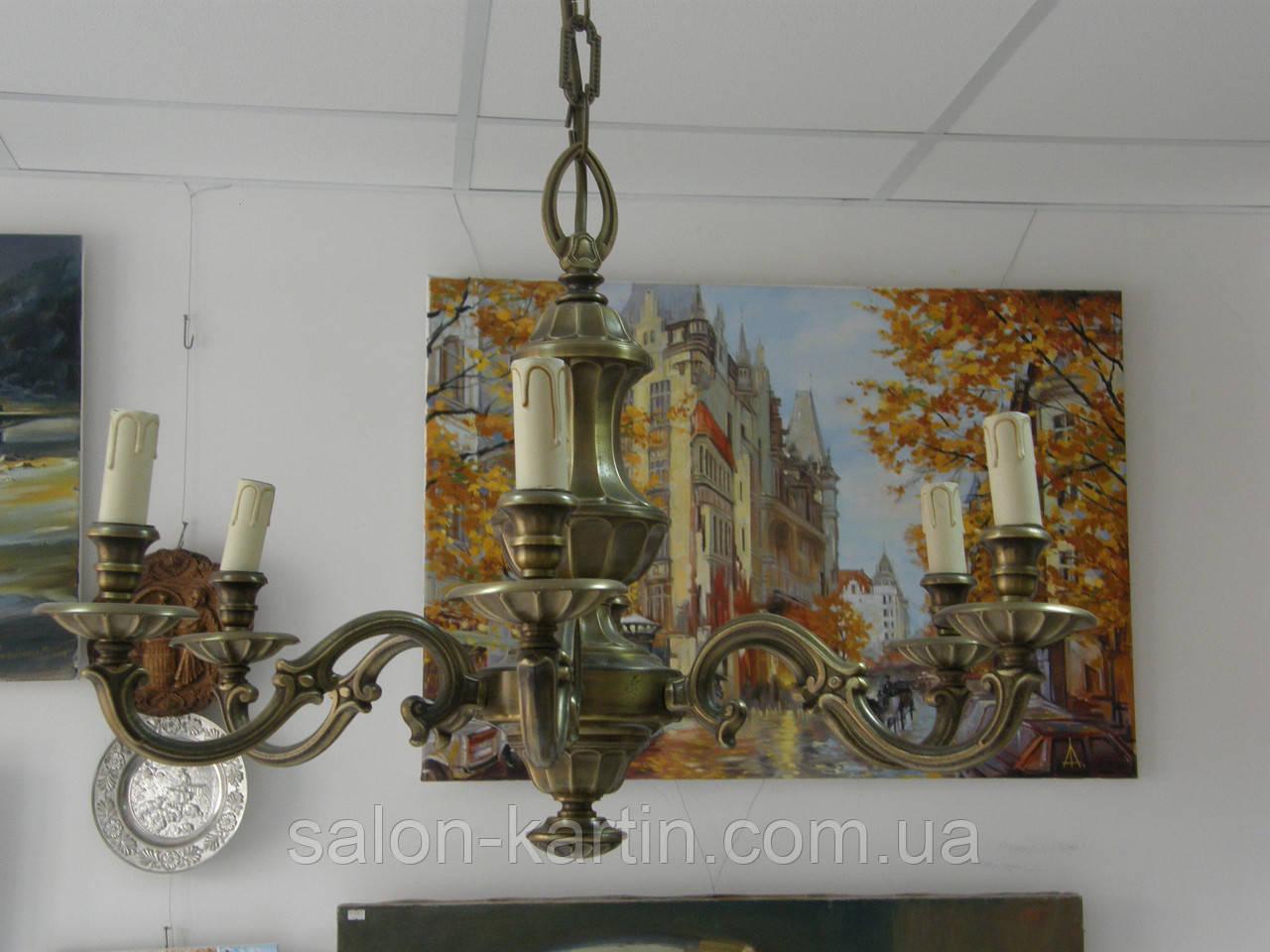 Бронзова Люстра (6 плафонів-свічок)