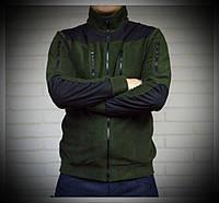 Мужская флисовая кофта-куртка со вставками на локтях и плечах