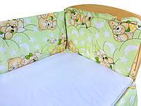 """Защита для детской кроватки 120х60 см, """"Мишки спят"""" салатовая"""