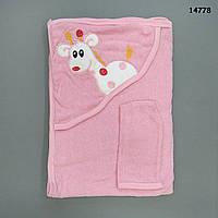 """Махровое полотенце-уголок """"Жираф"""" с варежкой для купания, 75х80 см"""