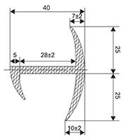 Уплотнитель ворот фургона U040-40 mm
