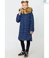 Пальто детское зимнее на девочку Ева Синее Размеры 122, 140