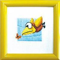 """Набор для Вышивки Гладью, """"Птичка"""", Размер: 9x9см, в наборе: схема+канва+мулине+игла, ТМ """"Чарівна мить """", (УТ0009657)"""