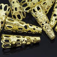 Конус Шапочки для Бусин, Железные, Цвет: Золото, Размер: 9х22мм, Отверстие 3мм, (УТ0010130)