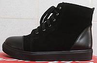 Молодежные ботинки кожаные на маленьком платформе, женская обувь демисезонная от производителя модель СТБ17