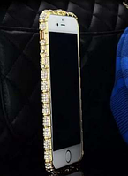 Золотой металлический бампер с камнями для iphone 5/5s Fashion Snake , фото 1