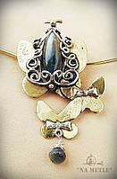 Кольє Метелики, латунь, срібло, лабрадор