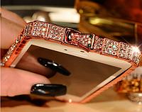 Розовый металлический бампер с камнями для iphone 5/5s Fashion Snake, фото 1