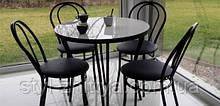 """Комплект """"Чорний тюльпан"""": стіл 80см та 4 крісла"""
