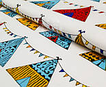 Бязь польская  с разноцветными вигвамами с флажками  на белом фоне, № 903а, фото 5