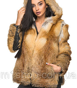 Женская короткая шуба из натурального меха лисы(5 br)