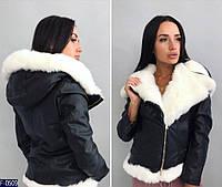 Куртка женская короткая на молнии Ткань эко кожа мех искусственный