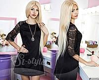 Платье с ажурной спиной и украшением Черное