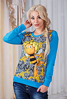 """Модный женский свитшот двухнить """"Пчёлка Мая"""" в расцветках"""