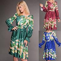 Нарядное шёлковое платье, цветочный принт. 3 цвета.