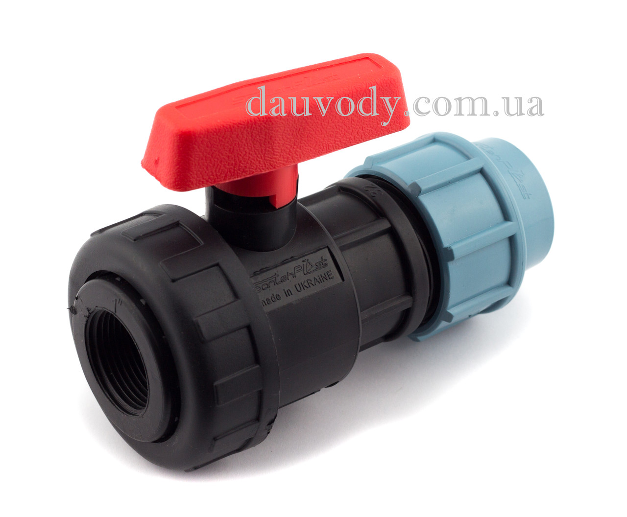 """Кран кульовий 63х2"""" різьба внутрішня пластиковий для поліетиленової труби пнд Santehplast"""