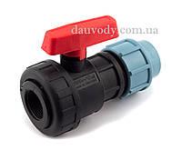 """Кран кульовий 63х2"""" різьба внутрішня пластиковий для поліетиленової труби пнд Santehplast, фото 1"""