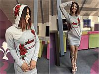 "Платье туника с капюшоном ""Amour"" норма и батал"
