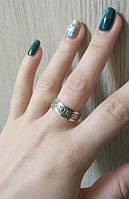 Кольцо серебряное  с золотом Спаси и Сохрани