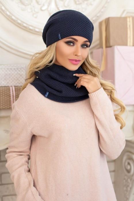 Зимний женский комплект «Жаклин» (шапка и шарф-хомут) Джинсовый