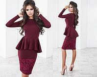 Красивое модное  женское платье-миди с баской с длинным рукавом  +цвета