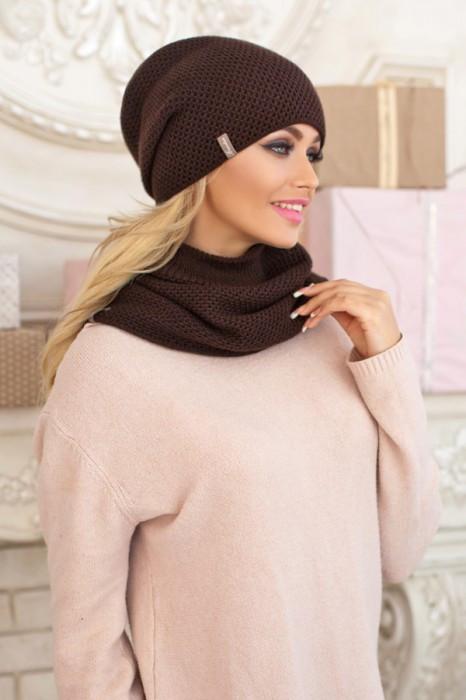 Зимний женский комплект «Жаклин» (шапка и шарф-хомут) Коричневый