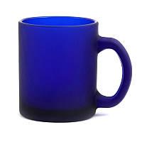 Кружка матовая стеклянная 320 мл синяя (корпоративный подарок)