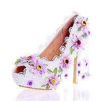 Белый-Для женщин-Свадьба Для праздника Для вечеринки / ужина-Лакированная кожа-На шпильке-Оригинальная обувь Удобная обувь-Обувь на 05686878
