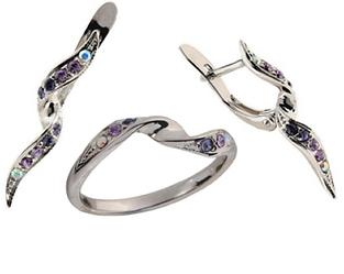 """Гарнитур """"Бланманже"""" с кристаллами Swarovski, покрытый родием (e145f250) (В наличии только кольцо 19 размер)"""