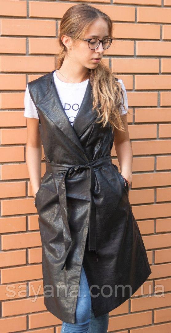 Женский кожаный жилет с поясом, 2 цвета. БР-9-0817