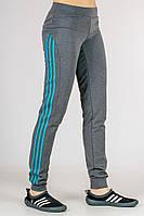 Темно серые спортивные штаны женские брюки с лампасами трикотажные на резинке (манжет) Украина
