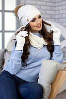 Зимний женский комплект «Катарина» (шапка, снуд и перчатки) Белый