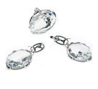 """Гарнитур """"Северн. сияние"""" со Swarovski, покрытый серебром (a3943200) (В наличии только кольцо 17.5-18 размер)"""
