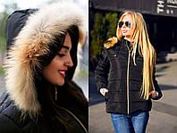"""Женская зимняя куртка на синтепоне 8088-1 """"Капюшон Натуральный Мех"""" в расцветках"""