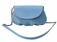 Кожаная сумка через плечо голубая, фото 1
