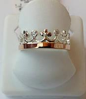 Корона кольцо из серебра с золотом