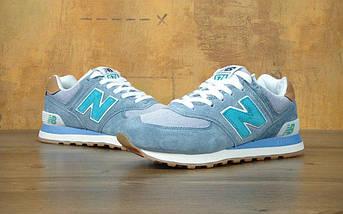 Женские кроссовки New Balance 574 Light Blue, фото 3