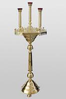 Церковный подсвечник на 65 свечей, трехлампадный